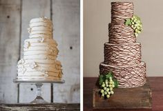 Simple piping transforms a cake into a tower of grape vines.  Simple and elegant.