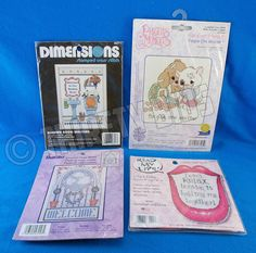 4 Pc Cross Stitch Dimensions 6627 73001 Precious Moments 131-95 Bucilla 43158 #Dimensions #FrameMagnet