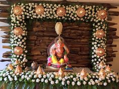 Precious Tips for Outdoor Gardens - Modern Flower Decoration For Ganpati, Ganpati Decoration Design, Mandir Decoration, Flowers Decoration, Garden Party Decorations, Wedding Flower Decorations, Festival Decorations, Garland Wedding, Ganesh Chaturthi Decoration