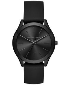 Michael Kors Women's Slim Runway Sporty Black Silicone Strap Watch 42mm MK2513 | macys.com