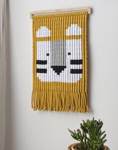 Crafts For Boys Handmade macrame tapestry monochrome wall decor kids room grey tiger wild animal jungle safari sustainable design wall rug wall hanging wall hanger nordic boys room modern minimal nursery plywood cotton Weaving Wall Hanging, Weaving Art, Tapestry Weaving, Wall Tapestry, Baby Dekor, Nachhaltiges Design, Art Textile, Macrame Patterns, Wall Hanger
