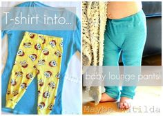 30 Minute Baby Lounge Pants (from an old t-shirt), tutorial link. I need to make some of these for my granddaughters to match some little girls tops that I want to make. Sewing Kids Clothes, Sewing For Kids, Baby Sewing, Diy For Kids, Toddler Pants, Baby Pants, Pj Pants, Baby Leggings, Sewing Hacks