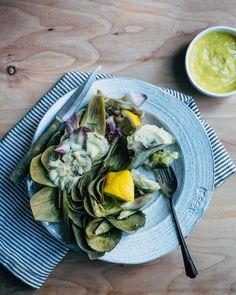 Simple Artichokes + Garlic Aioli Recipe — Dishmaps