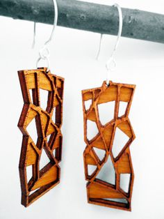 Intricate Modern Wood Earrings by by OrganicArchitecture on Etsy, $34.00