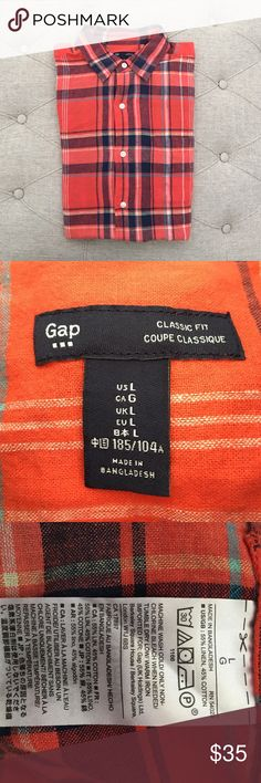 MEN: Gap Orange Plaid Top Casual plaid orange top short sleeve button down shirts. Classic fit by gap. Size large. Made in Bangladesh. Material is 55% linen, 45% cotton. Very vibrant color and must have for every closet!  Great condition. All items sold as is. Bundle for additional savings, reasonable offers will be considered. GAP Shirts Casual Button Down Shirts