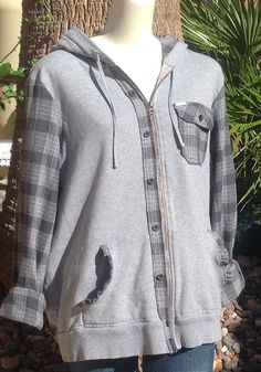 Gray repurposed flannel shirt gray hoodie upcycled by BEloise