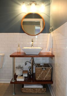 DIY Bathroom Vanity Shelves - Moderate Home Diy Vanity, Open Bathroom Vanity, Industrial Bathroom Vanity, Under Bathroom Sinks, Bathroom Vanity Designs, Vanity Shelves, Modern Bathroom Sink, Rustic Bathroom Vanities, Best Bathroom Designs