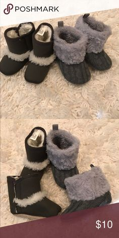 Set of two baby boots Two gray fleece lined baby boots size 6-12 months. One is from old navy and the other is not branded. Both have Velcro on the sides of the ankles. Worn once or twice but never walked on and are therefore in excellent condition. These are soft soled and aren't really intended for walking babies. Shoes Boots