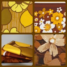 Vintage Fabric Fat Quarter Bundle - Brown Flowers www.funkyfabrix.com.au