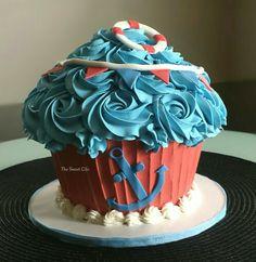 Nautical giant cupcake