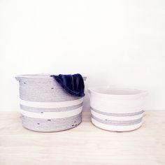 Large cotton basket/ rope basket/ laundry bin/ basket/ storage solution/ by Mia Mélange. Cotton Rope, Gift Tree, Baby Shoes, Laundry Bin, Basket Storage, Rope Basket, Flooring, Gifts, Bathroom