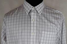 TOMMY BAHAMA Mens Button Front Dress Shirt sz 17.5/37 White Plaid #TommyBahama #FlatFront