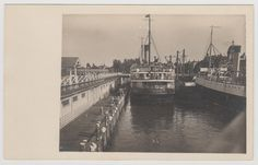 """VICTORIA, BC - Photo postcard showing the stern of the C.P.R. """"Princess Sophia"""", with """"Princess Maquinna"""" to the right, docked at the C.P.R. terminal in Victoria. Was launched in 1911 and sunk at Vanderbilt Reef in 1918 with the loss of all on board, making it the worst maritime accident on the coast. The only survivor was a dog that managed to swim to shore and was found covered in oil. Paris Skyline, New York Skyline, Emily Carr, Canadian Pacific Railway, Princess Sophia, Vancouver Island, Photo Postcards, British Columbia, North West"""