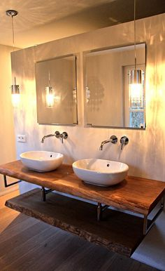 Waschtisch Konsole Waschtischkonsole Waschtischplatte massiv aus Holz auf Maß Eiche Massivholzplatte für Waschbecken | Holzwerk-Hamburg.- LOOKS FABULOUS, I LOVE THE IDEA OF TWIN MIRRORS & SINKS! ♠️