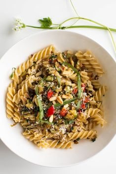 Wild garlic, courgette and pine nuts with whole wheat fusilli