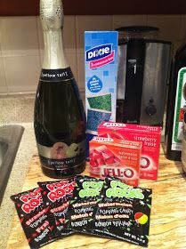 Champagne Jello Shots topped with POP ROCKS right before serving!