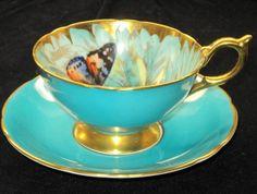 aqua teal turquoise   Aqua, Teal, Turquoise / Aynsley Floating Butterfly Grandulous Tea cup ...