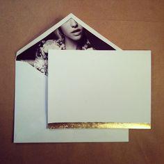 Fashion ad lined envelope and sleek  gold leaf card. www.albertalagrup.com