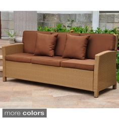 Shop for Lisbon Resin Wicker Sofa with Corded Cushions and Throw Pillows. Get free delivery at Overstock.com - Your Online Garden