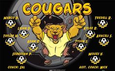 Cougars-45831  digitally printed vinyl soccer sports team banner. Made in the USA and shipped fast by BannersUSA. www.bannersusa.com