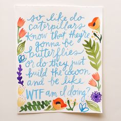 Watercolor lettering & illustrations by @alliebmcrae