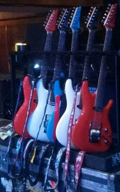 Ibanez JS series guitars used by Satriani on his 2013 Unstoppable Momentum tour.