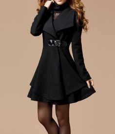 Image of Black Long Coat Winter Coat Woman coat Long Sleeves Golilla Collar Coat M1