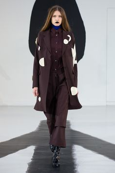 deep burgundy-brown coat, shirt and trousers by Aalto - Fall 2016 Ready-to-Wear Fashion Show