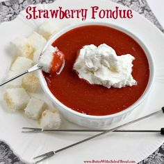 STRAWBERRY FONDUE - Butter with a Side of Bread Strawberry Fondue is a light and refreshing (and super easy!) dessert that your family and friends will love - plus your options for dippers are endless! Fondue Raclette, Beer Cheese Fondue, Fondue Recipes, Cooking Recipes, Fondue Ideas, Kabob Recipes, Cheese Recipes, Copycat Recipes, Dessert Dips