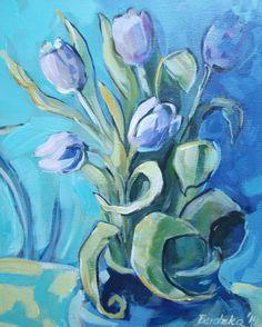 TULIPS III (Painting) przez ANNA  BARDZKA acrylic painting
