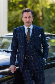 Navy Windowpane Three piece suit w/ Double Breasted Vest