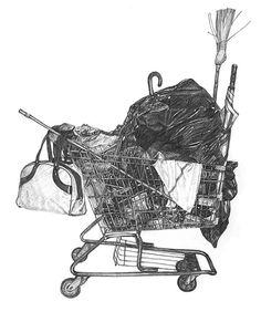 Talented architect and illustrator Taizo Yamamoto uses pencil to render these hyper-realistic drawings of shopping carts piled high with urban detritu. Realistic Drawings, Music Film, World Of Color, Photo Projects, Yamamoto, Community Art, Art Inspo, Design Art, Shopping Carts
