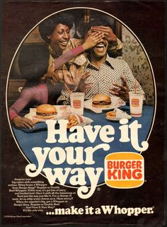 1970's-style Burger King ad. ❥Linked guide to all images: http://tinyurl.com/6vmsm9g