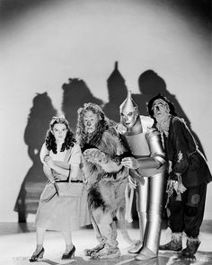 Judy Garland, Bert Lahr, Jack Haley and Ray Bolger for The Wizard of Oz, 1939    (Source: lucynic83)