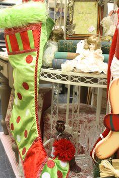 Christmas stockings and dolls at Paris Flea Market December Event