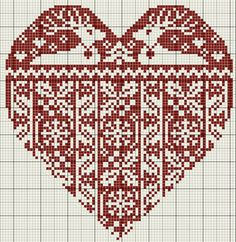~ Reindeer & Snowflake Counted Cross-Stitch Heart ~