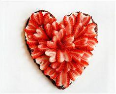 Strawberry Brownie Heart Pizza