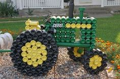 Tractor made from pop cans  totally seems like some thing D would create