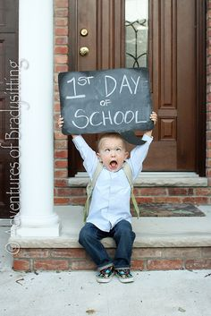 first day of school picture...what could be more fun than making crazy faces...foam board cut into the shape of a speech bubble and painted with chalkboard paint provides the prop for this yearly event...you could add grade level on the speech bubble