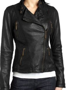handmade women Black leather Jacket, women Leather Jacket Black zip up closure via Etsy