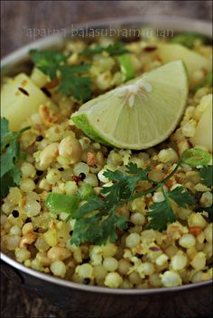 Sabudana Kichidi - Tapioca pearls cooked with groundnuts/ peanuts, potatoes and coconut.