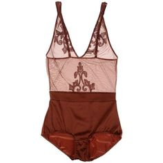 Golden Goose Bodysuit ($90) ❤ liked on Polyvore featuring intimates, shapewear, lingerie, underwear, tops, bodysuit and brown
