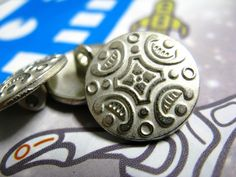 Carpet Pattern Metal Buttons , Silver Color , Shank , 0.63 inch , 10 pcs by Lyanwood, $5.00