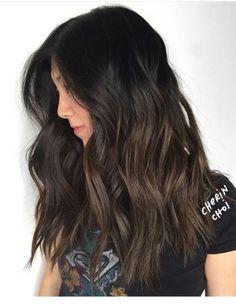 Dark brunette subtle bayalage ombré highlights
