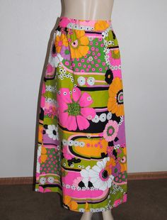 1960s Psychedelic Flower Print MAXI Skirt by pinkpoodlevintage