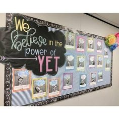 The highlight of my week was doing a formal lesson on The Power of Yet! Hearing my kids now add the word 'yet' to the end of so many of… Classroom Bulletin Boards, Classroom Community, Classroom Door, Future Classroom, Classroom Organization, Classroom Ideas, Classroom Design, School Classroom, Classroom Management