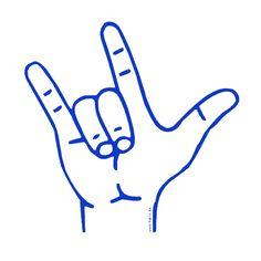 ily - Fingeralphabet-Symbol I-Love-You (blau)
