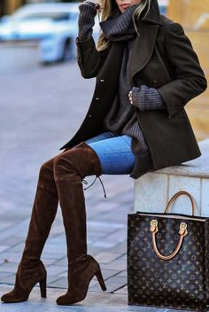 #winter #fashion / Black Coat + Dark Turtleneck + Brown Velvet OTK Boots