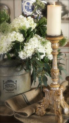 Aren't hydrangeas wonderful? Just love arranging flowers! A small detail of many vignettes we photographed this week.  Have a great and inspiring weekend.