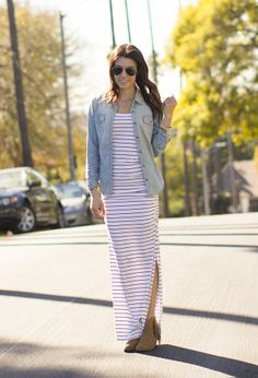 maxi, chambray, stripes